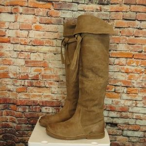 Frye Celia Boots Over the Knee Taupe Leather